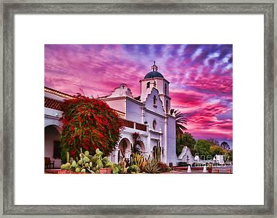 Sunset Mission San Luis Rey De Francia By Diana Sainz Framed Print