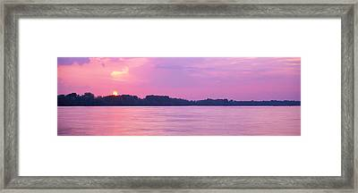 Sunset Mississippi River Memphis Tn Usa Framed Print by Panoramic Images