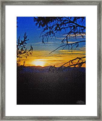 Framed Print featuring the photograph Sunset Mountain To Mountain by Janie Johnson