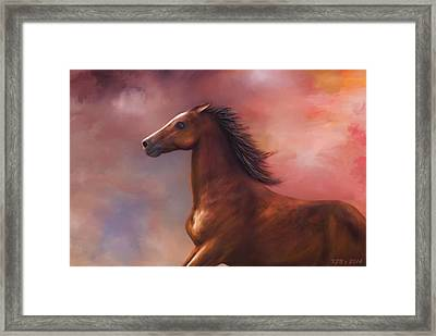 Sunset Mustang Framed Print