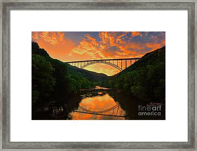 Framed Print featuring the photograph Sunset New River Gorge by Dan Friend