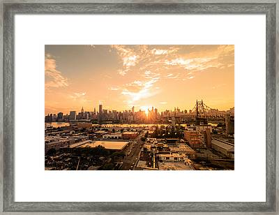 Sunset - New York City Skyline Framed Print by Vivienne Gucwa