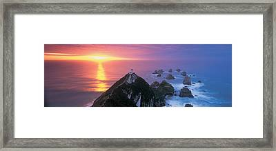 Sunset, Nugget Point Lighthouse, South Framed Print by Panoramic Images