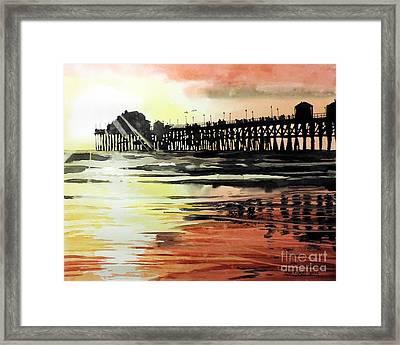 Sunset Oceanside Pier Framed Print by Tom Riggs