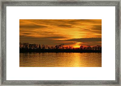 Sunset - Ohio River Framed Print by Sandy Keeton
