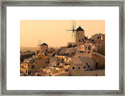 Sunset Oia Santorini Framed Print by Saul Moreno