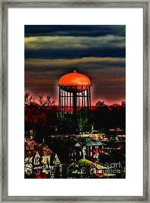 Sunset On A Charlotte Water Tower By Diana Sainz Framed Print by Diana Sainz