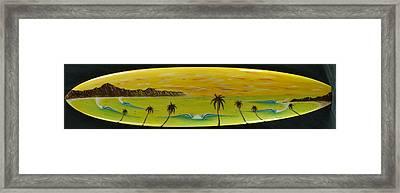Sunset On A Surfboard Framed Print