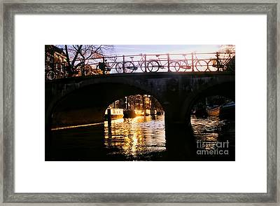 Sunset On Amstel Canal Framed Print