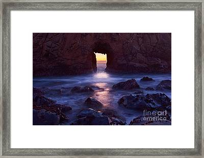 Sunset On Arch Rock In Pfeiffer Beach Big Sur In California. Framed Print by Jamie Pham