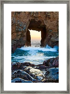 Sunset On Arch Rock In Pfeiffer Beach Big Sur. Framed Print by Jamie Pham