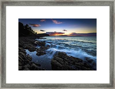 Framed Print featuring the photograph Sunset On Ber Beach Galicia Spain by Pablo Avanzini
