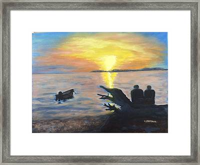 Sunset On Birch Bay Framed Print by Liz  Ekstrom