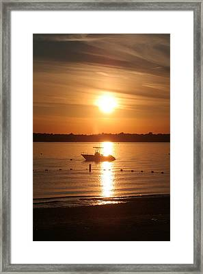 Framed Print featuring the photograph Sunset On Boat by Karen Silvestri
