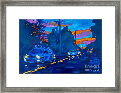 Framed Print featuring the painting Sunset On Branch Avenue by Michael Ciccotello