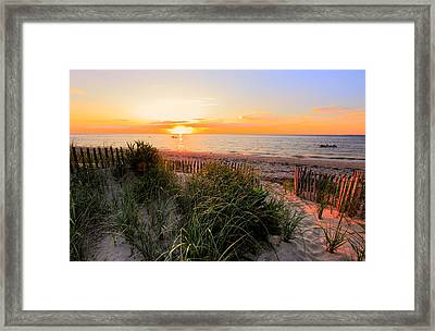Sunset On Cape Cod Bay Framed Print by Georgia Fowler