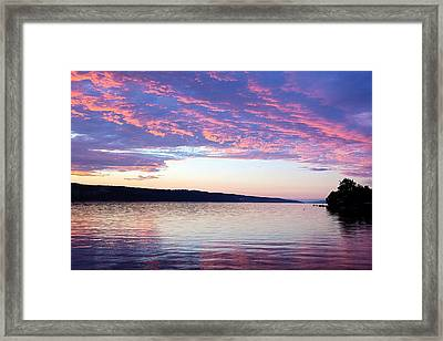 Sunset On Cayuga Lake Cornell Sailing Center Ithaca New York Framed Print by Paul Ge