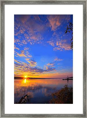 Sunset On Cayuga Lake IIi Ithaca New York Framed Print by Paul Ge