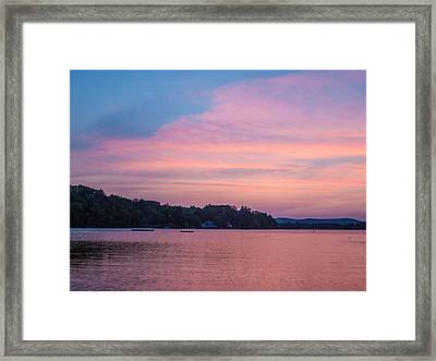 Sunset On Chickawaukee Lake Framed Print by Ernest Puglisi