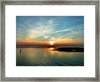 Sunset On Chincoteague Bay Framed Print by Steven Ainsworth