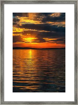 Sunset On Degray Lake Framed Print