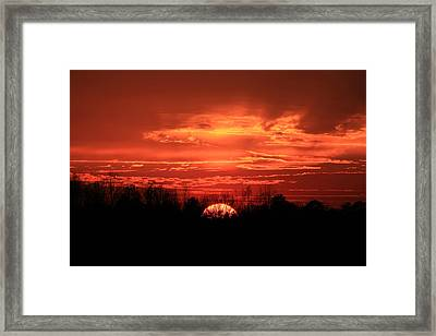 Sunset On Fire  Framed Print by Reid Callaway