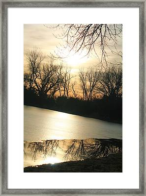 Sunset On Frozen Lake Framed Print