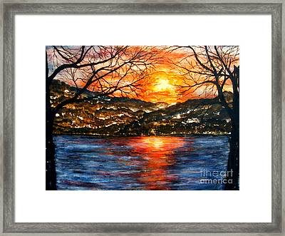 Sunset On Greers Ferry Lake Arkansas Framed Print by Vivian Cook