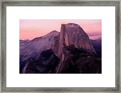 Sunset On Half Dome As Seen Framed Print by Gina Bringman