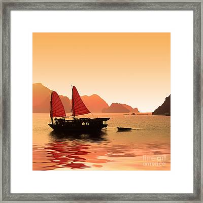 Sunset On Halong Bay Framed Print