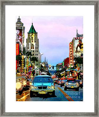 Framed Print featuring the digital art Sunset On Hollywood Blvd by Jennie Breeze