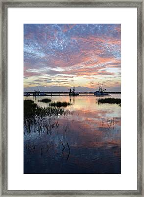 Sunset On Jekyll Island With Docked Boats Framed Print