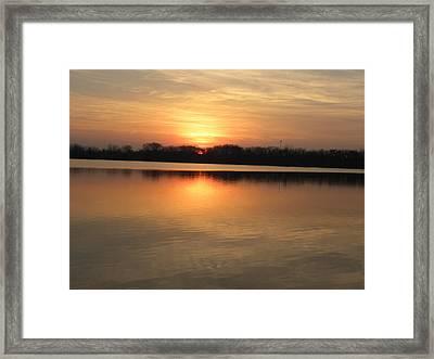 Sunset On Lake Framed Print by Cim Paddock
