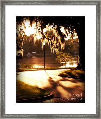 Framed Print featuring the digital art Sunset On Lake Mizell by Valerie Reeves