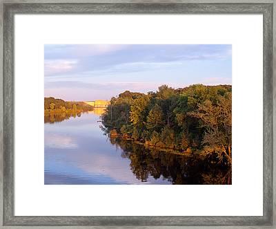 Sunset On Lake Wissota Dam Framed Print