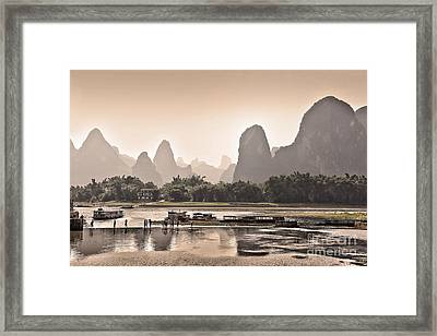 Sunset On Li River Framed Print