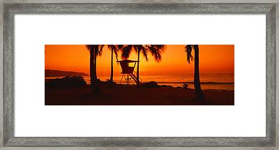 Sunset On Lifeguard Tower At Wailua Framed Print by Panoramic Images