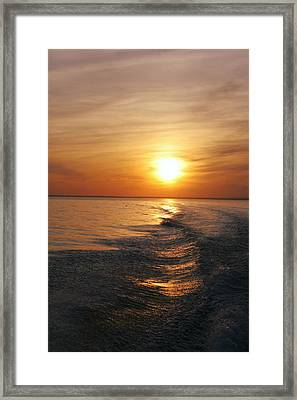 Framed Print featuring the photograph Sunset On Long Island Sound by Karen Silvestri