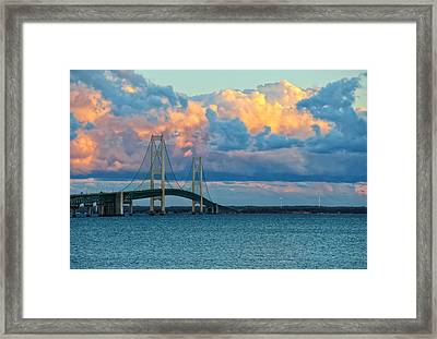 Sunset On Mackinac Bridge Framed Print by Rachel Cohen
