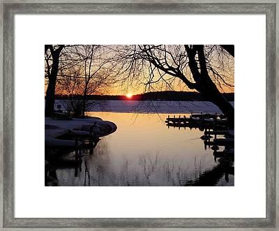 Sunset On Manistique Framed Print by Feva  Fotos