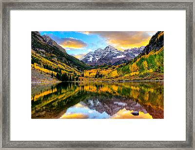 Sunset On Maroon Bells Framed Print