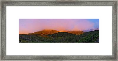 Sunset On Mount Lafayette Framed Print by Gordon Ripley