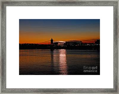 Framed Print featuring the photograph Sunset On Paul Brown Stadium by Mary Carol Story
