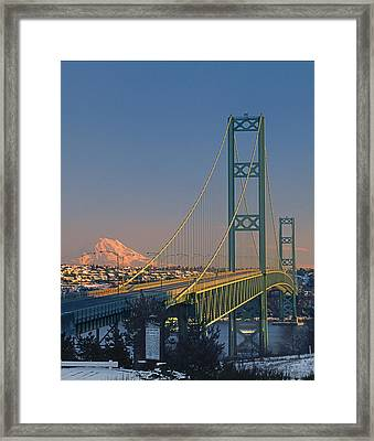 1a4y20-v-sunset On Rainier With The Tacoma Narrows Bridge Framed Print