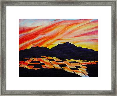 Framed Print featuring the painting Sunset On Rice Fields by Michele Myers