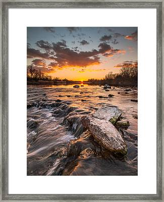Sunset On River Framed Print