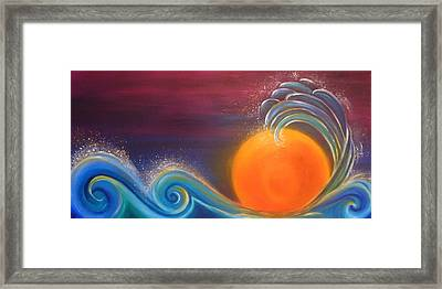 Sunset On Surf Framed Print by Reina Cottier