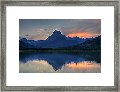 Sunset On Swiftcurrent Lake Framed Print