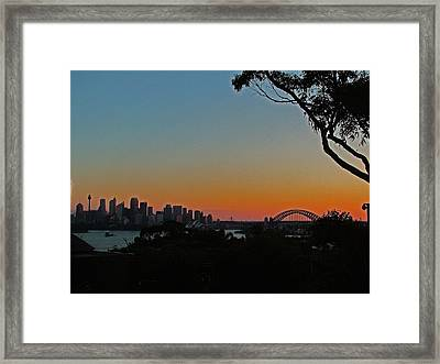 Framed Print featuring the photograph Sunset On Sydney Harbour  by Ankya Klay
