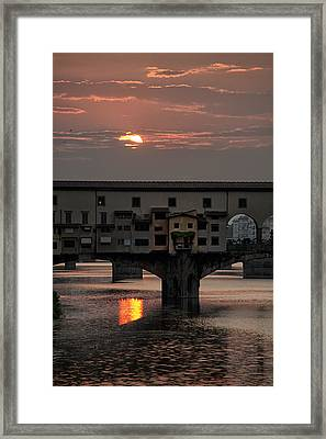 Sunset On The Arno River Framed Print by Melany Sarafis
